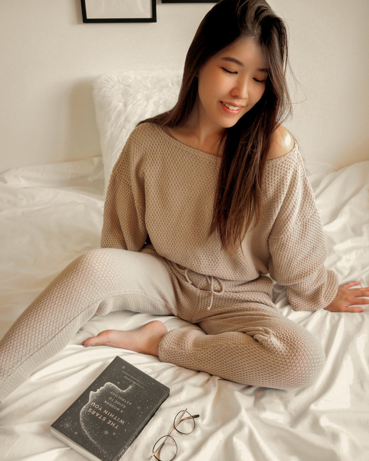 sitting on bed